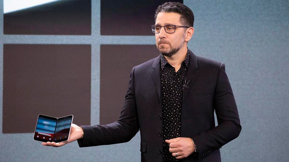 Microsoft's Chief Product Officer Panos Panay holds a Surface Duo at an event, Wednesday, Oct. 2, 2019 in New York. (AP)