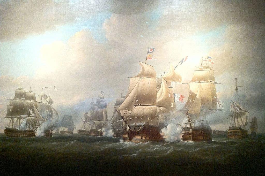 رسم تخيلي لإحدى المعارك البحرية بين الفرنسيين والبريطانيين