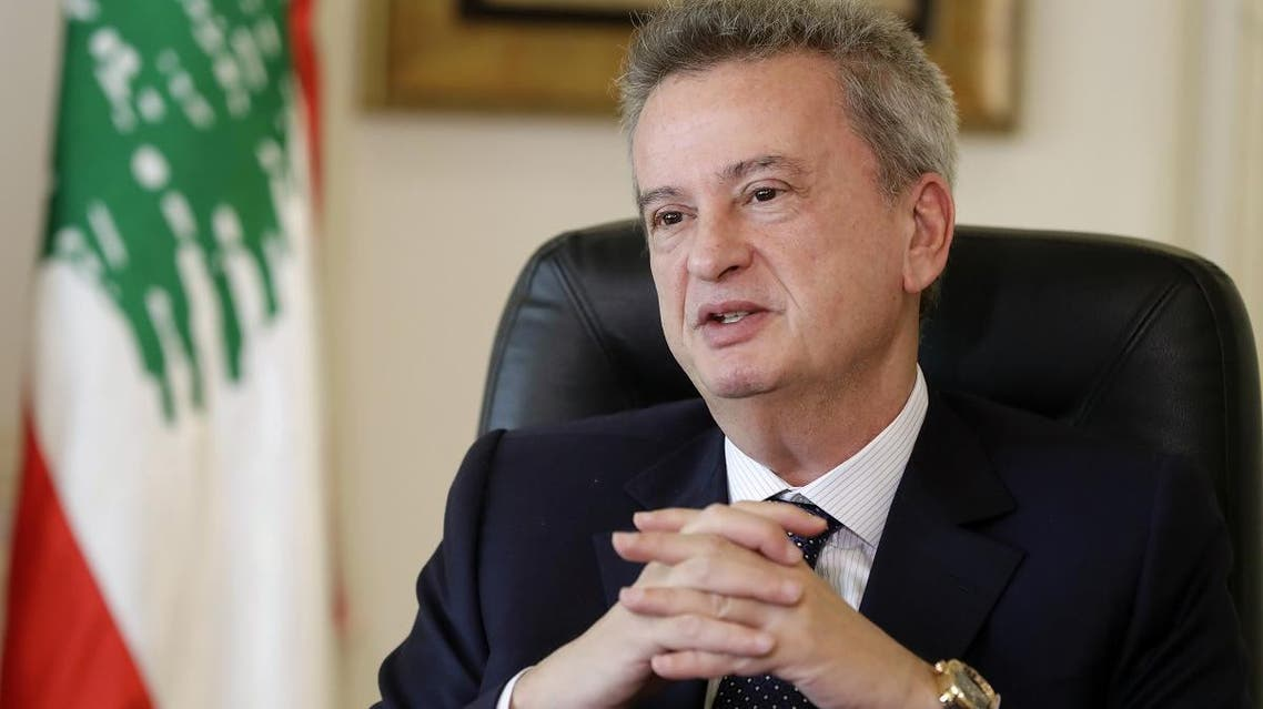 Lebanon's Central Bank Governor Riad Salameh speaks to a reporter during an interview with AFP at his office in Beirut on December 15, 2017. (AFP)