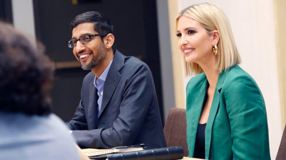 White House senior adviser Ivanka Trump (right), and Google CEO Sundar Pichai listen during a roundtable discussion at El Centro College in Dallas, on October 3, 2019. (AP)