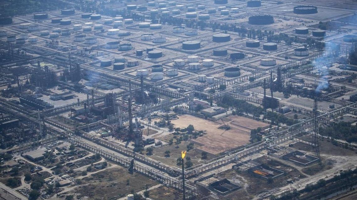 Aerial picture showing a Pemex oil complex in Tula, Hidalgo State, Mexico, taken on February 4, 2019. (AFP)