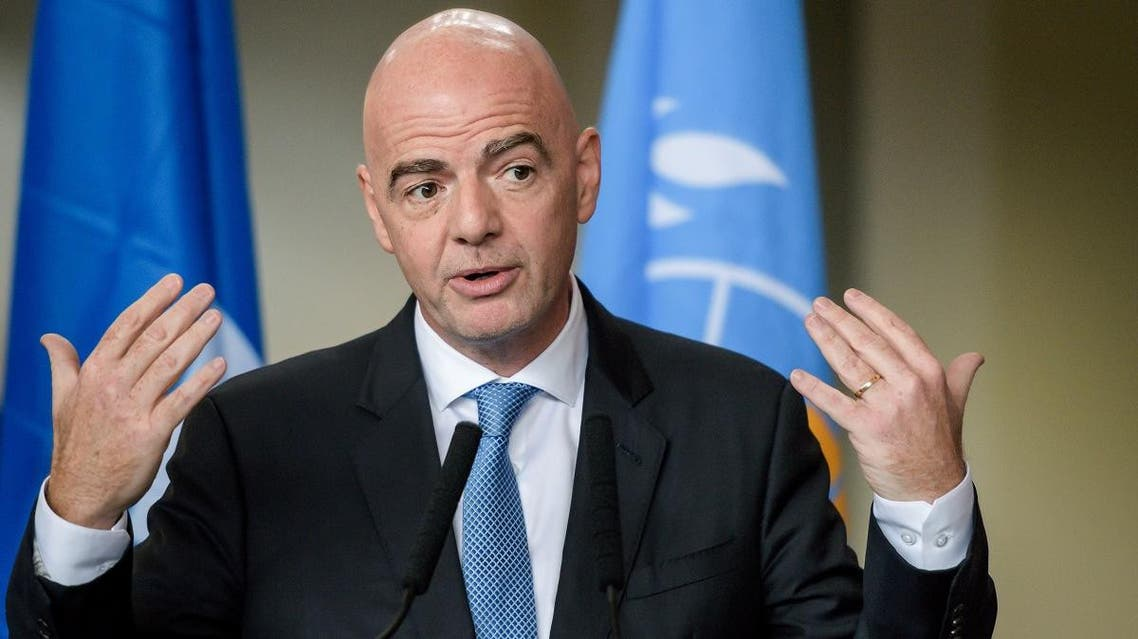 FIFA president Gianni Infantino gestures as he speaks during the signing of the memorandum of understanding with World Health Organization (WHO) aimed at promoting and protecting public health globally through football, on October 4, 2019 in Geneva. (AFP)
