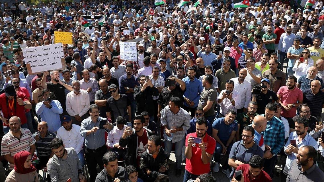 Public schools' teachers take part in a protest as part of their strike in Amman, Jordan October 3, 2019. REUTERS