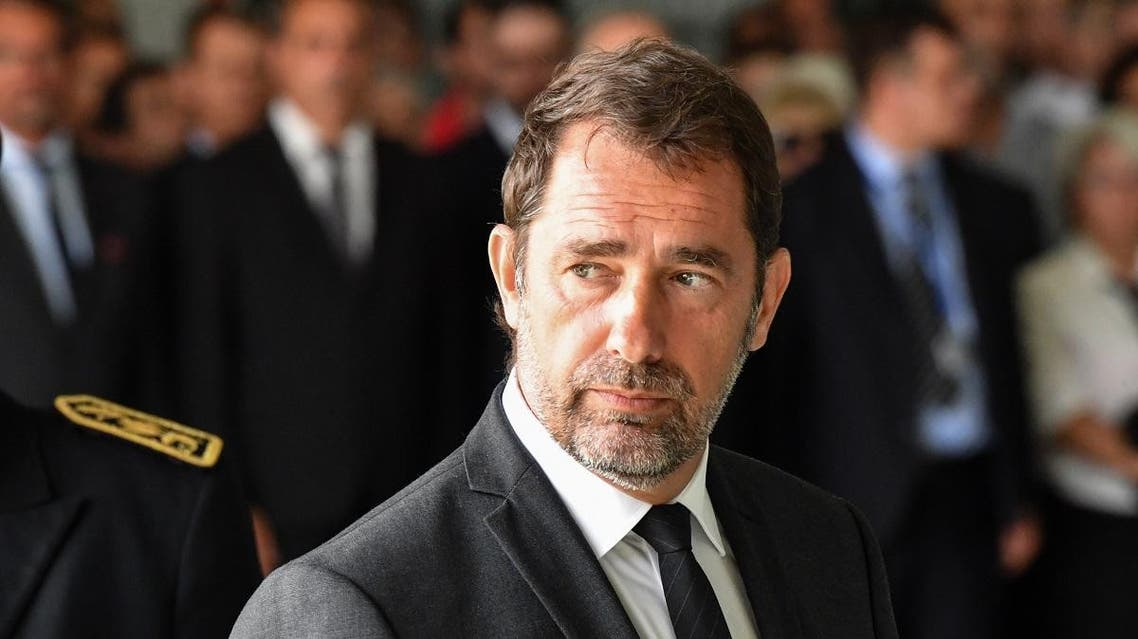 French Interior Minister Christophe Castaner arrives for a ceremony in Nimes on August 6, 2019 in tribute to Franck Chesneau, the pilot of a Securite Civile Tracker firefighter plane who died after he crashed on August 2, 2019. (AFP)