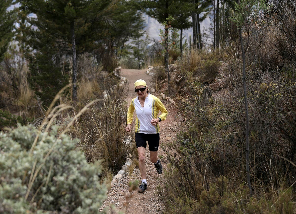 70-year old Bolivian Mirtha Munoz, the oldest ever competitor in Bolivia's 60 kilometer (37 mile) Skyrace. (Reuters)