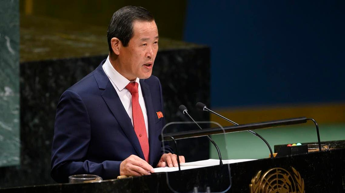 Chair of the delegation of North Korea, Kim Song speaks during General debate of the 74th session of the UN General Assembly on September 30, 2019 at the United Nations Headquarters in New York City. (AFP)