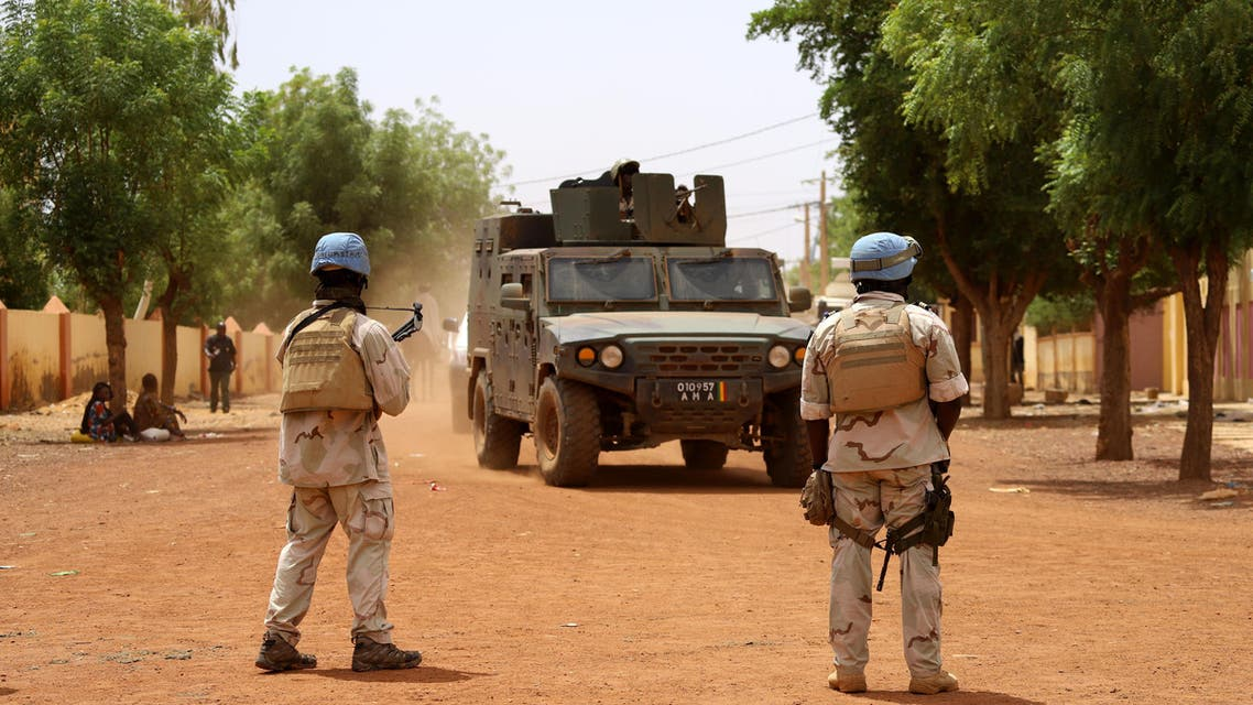 Senegalese soldiers of the UN peacekeeping mission in Mali MINUSMA (United Nations Multidimensional Integrated Stabilisation Mission in Mali) patrol in the streets of Gao, on July 24, 2019 (AFP)