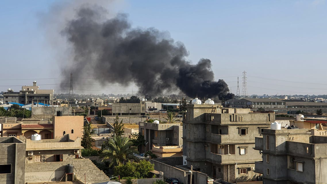 This picture taken on June  2019 shows smoke plumes rising in Tajoura south of the Libyan capital Tripoli following a reported airstrike by forces loyal to retired general Khalifa Haftar