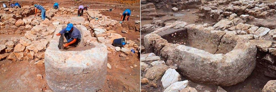 مذبح من حجر، كان الكنعانيون يقدمون الحيوانات ذبيحة محروقة عنده لإلههم الوثني