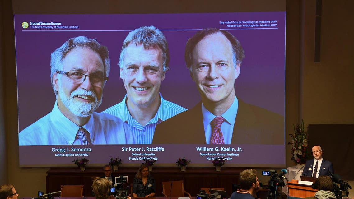 Nobel Assembly member, Randall Johnson (R), speaks to announce the winners of the 2019 Nobel Prize in Physiology or Medicine (L-R) Gregg Semenza of the US, Peter Ratcliffe of Britain and William Kaelin of the US, seen on a screen during a press conference at the Karolinska Institute in Stockholm, Sweden, on October 7, 2019. (AFP)