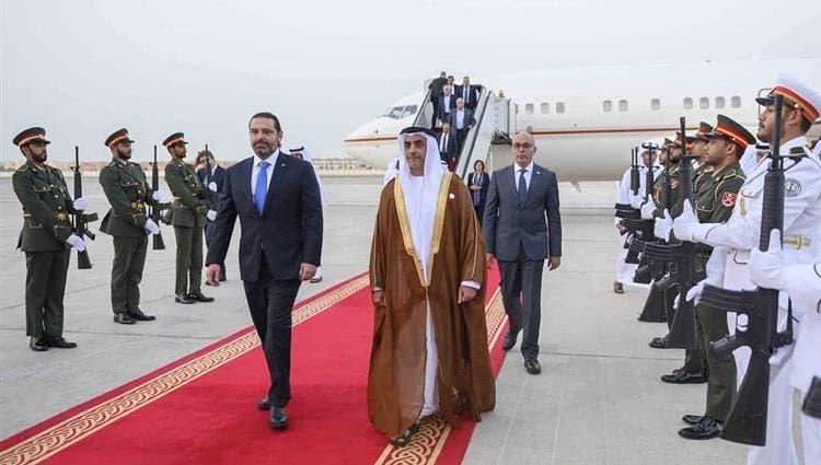 سيف بن زايد خلال استقباله الحريري (الاتحاد)