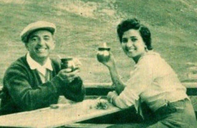 نعيمة وزوجها المخرج حسين فوزي