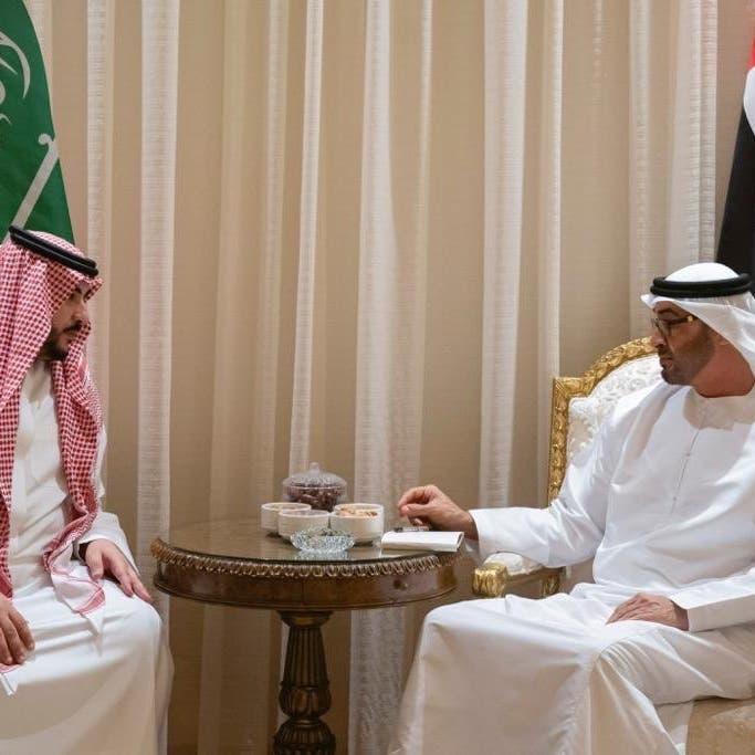 محمد بن زايد يبحث مع الأمير خالد التنسيق العسكري المشترك