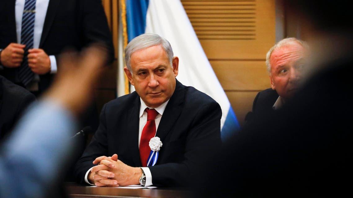 Israeli Prime Minister Benjamin Netanyahu speaks during his party's faction meeting in Jerusalem, Thursday., Oct. 3, 2019. (AP)