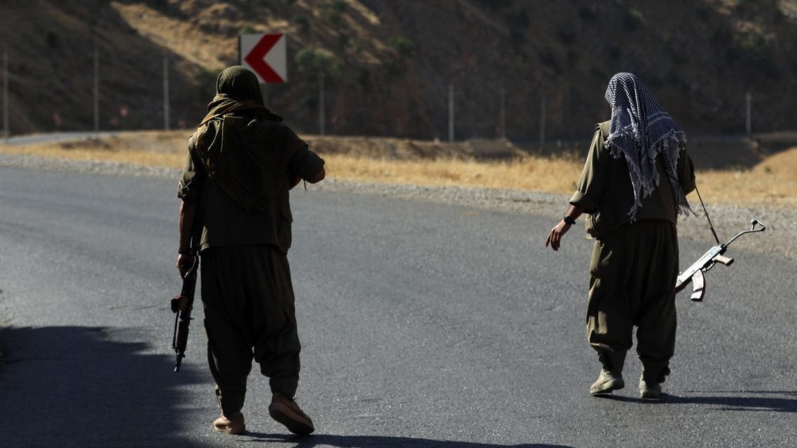 A member of the Kurdistan Workers Party on a road in the Qandil Mountains the PKK headquarters in northern Iraq  june 2018