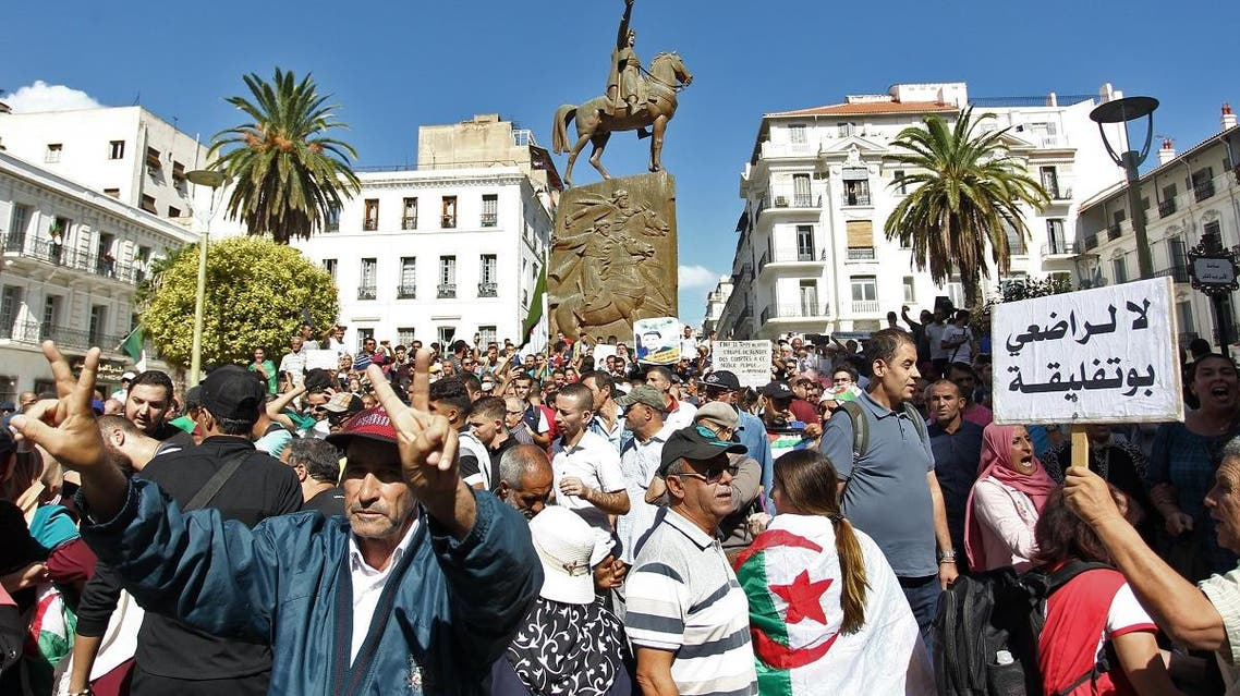 Algerian demonstrators gesture during an anti-government protest in the capital Algiers on October 8, 2019. (AFP)