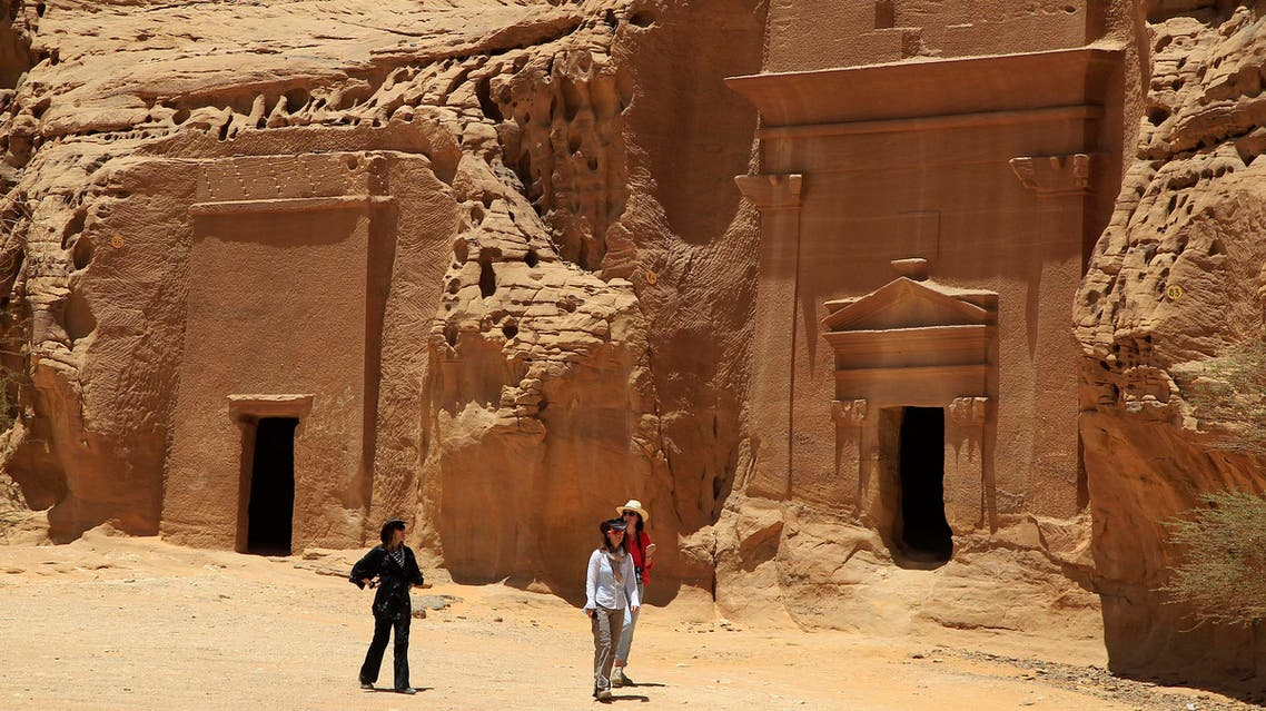 In this photograph made on Thursday, May 10, 2012, foreign tourists visit a Nabataean tombs complex in the desert archaeological site of Madain Saleh, in Al Ula city, 1043 km (648 miles) northwest of the capital Riyadh, Saudi Arabia. (AP)