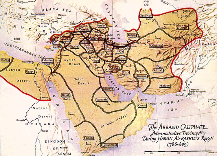 خريطة للدولة العباسية زمن هارون الرشيد