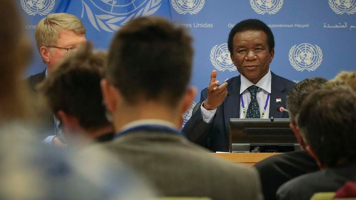 South Africa's United Nations Ambassador Jerry Matthews Matjila, right, holds a press conference as new president of the U.N. Security Council, Tuesday Oct. 1, 2019 at U.N. headquarters. (AP)