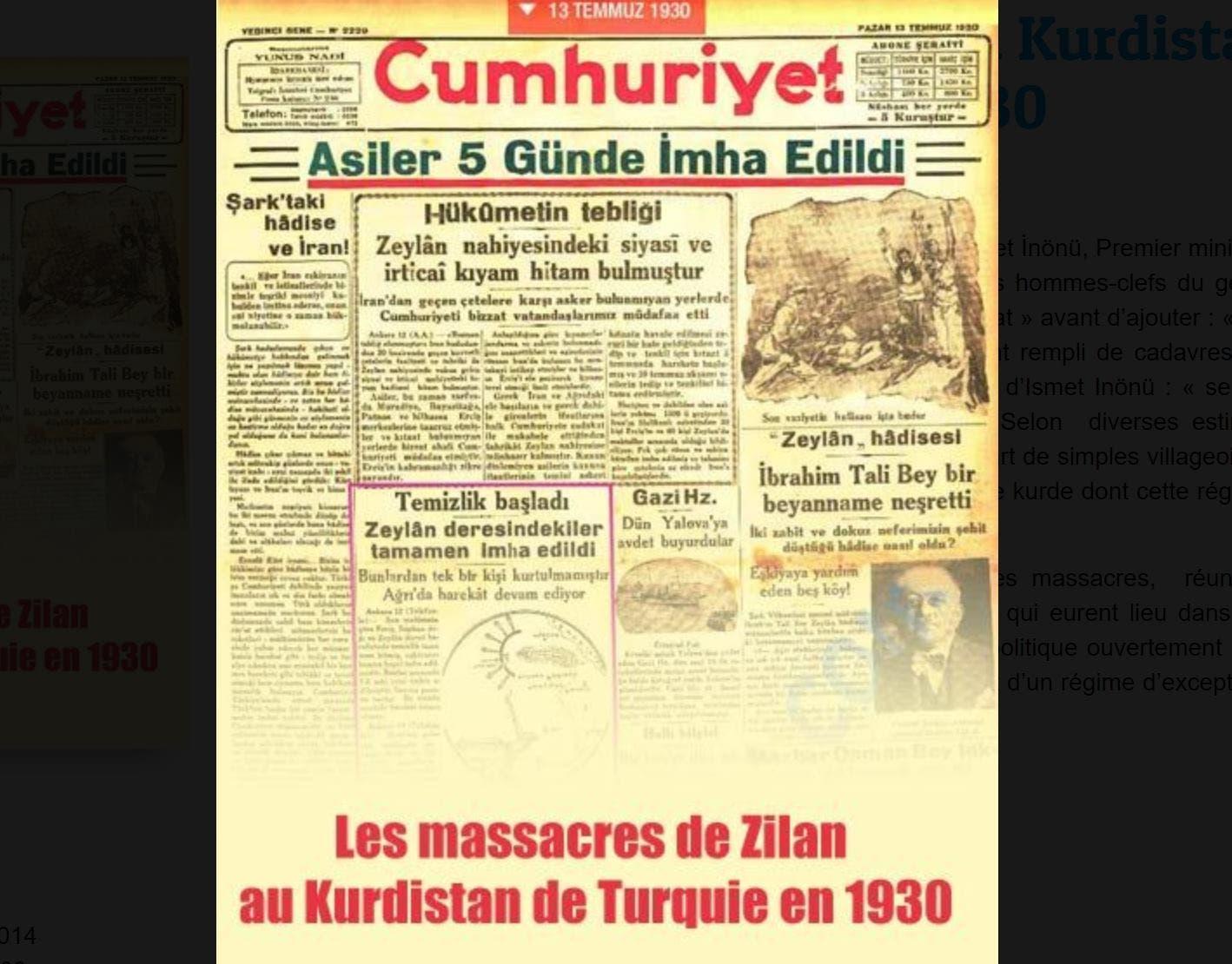 العدد الصادر يوم 16 تموز يوليو 1930 من مجلة جمهوريات ويبدو فيه التقرير بارزا بالمربع البنفسجي