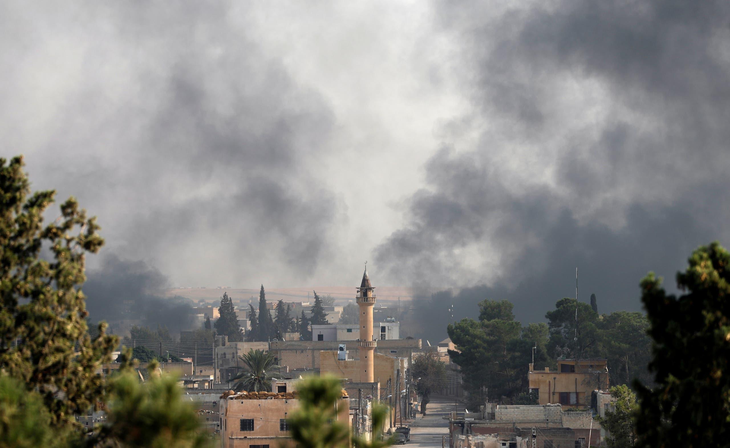 آثار القصف التركي على تل أبيض السورية