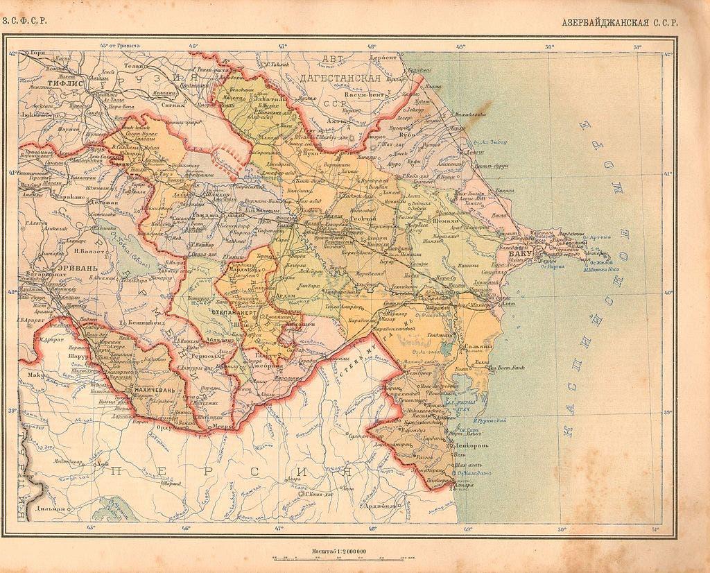 خريطة لجانب من الأراضي التي ضمت جمهورية أرارات