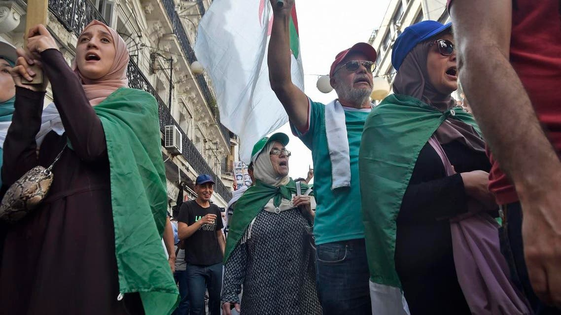 Algerian women take part in an anti-government protest in the capital Algiers on October 11, 2019. (AFP)