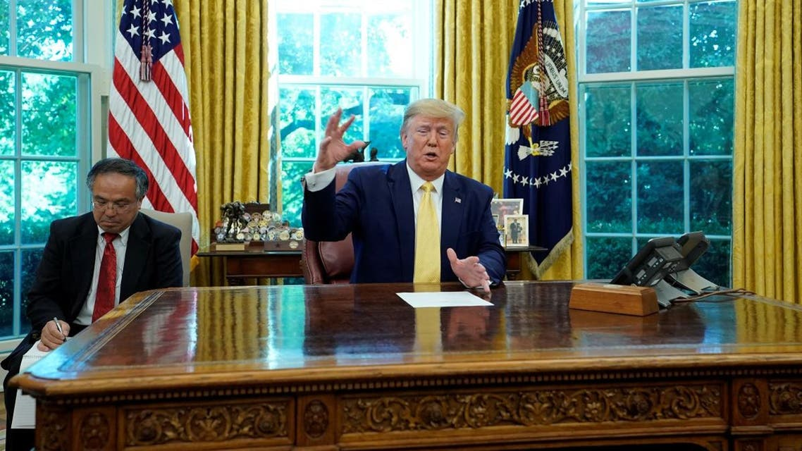 U.S. President Donald Trump speaks to the media during a meeting with China's Vice Premier Liu He in the Oval Office. (Reuters)