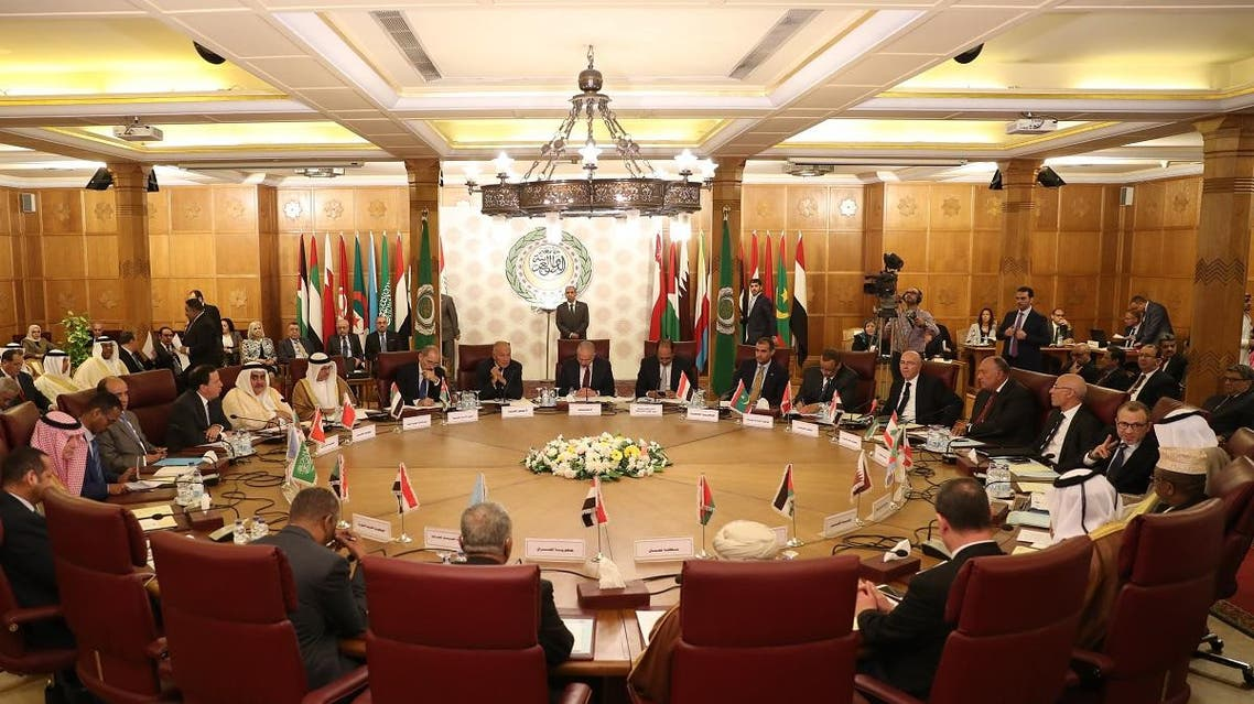 Representatives of the League of Arab states attend an emergency meeting at the Arab League headquarters in Cairo on October 12, 2019, to discuss Turkey's offensive on Syria. (AFP)