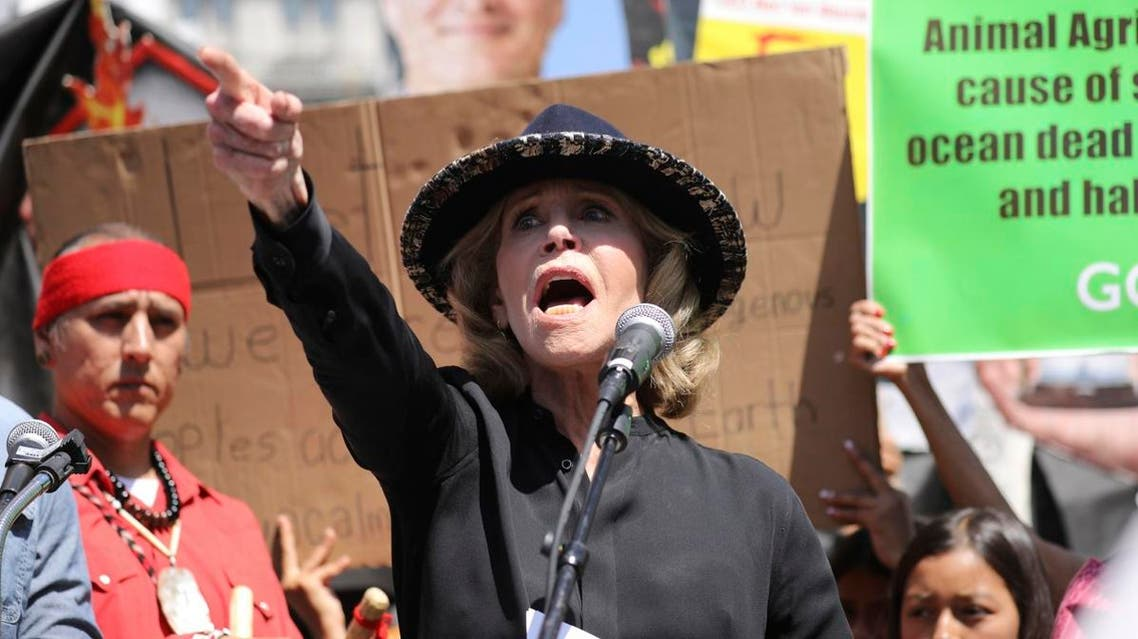 Actress and activist Jane Fonda talks to a crowd of protestors during a global climate rally at Pershing Square in downtown Los Angeles. (AP)