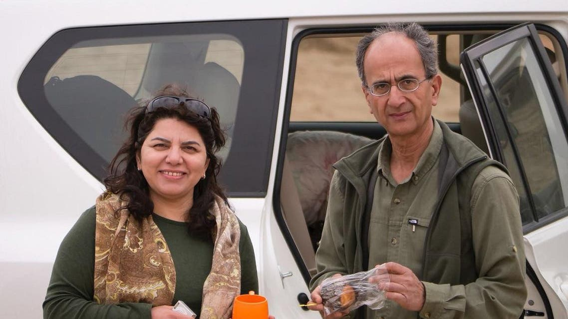 This undated photo provided by the family of the late Iranian-Canadian professor Kavous Seyed-Emami, shows him, right, and his wife, Maryam Mombeini, in an unidentified place in Iran. (AP)