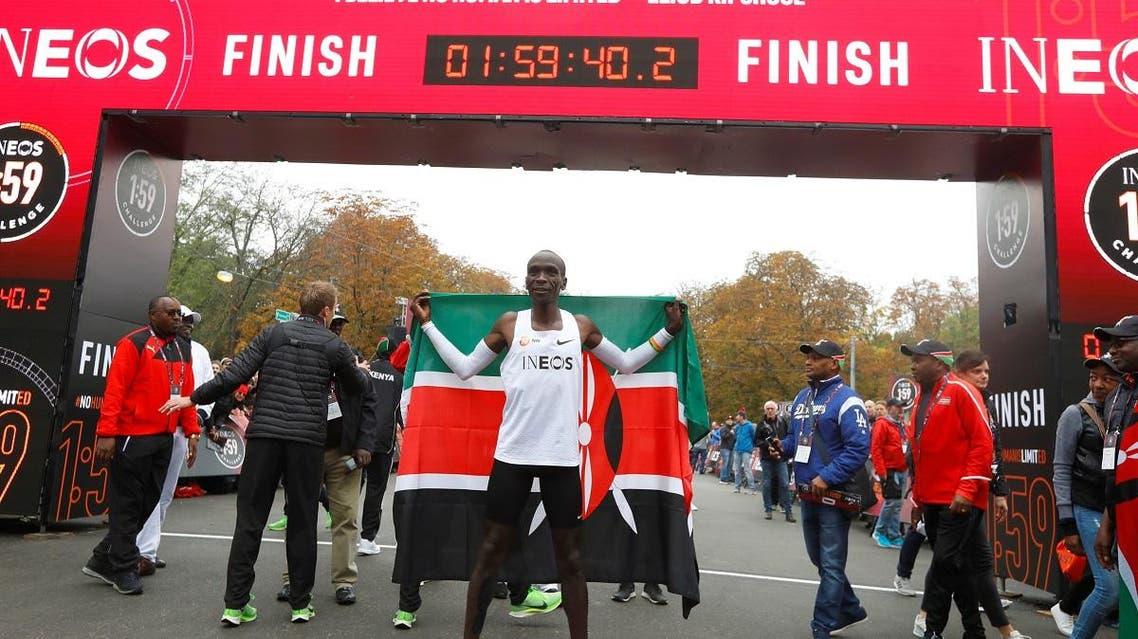 Eliud Kipchoge, the marathon world record holder from Kenya, attempts to run a marathon in under two hours in Vienna. (Reuters)