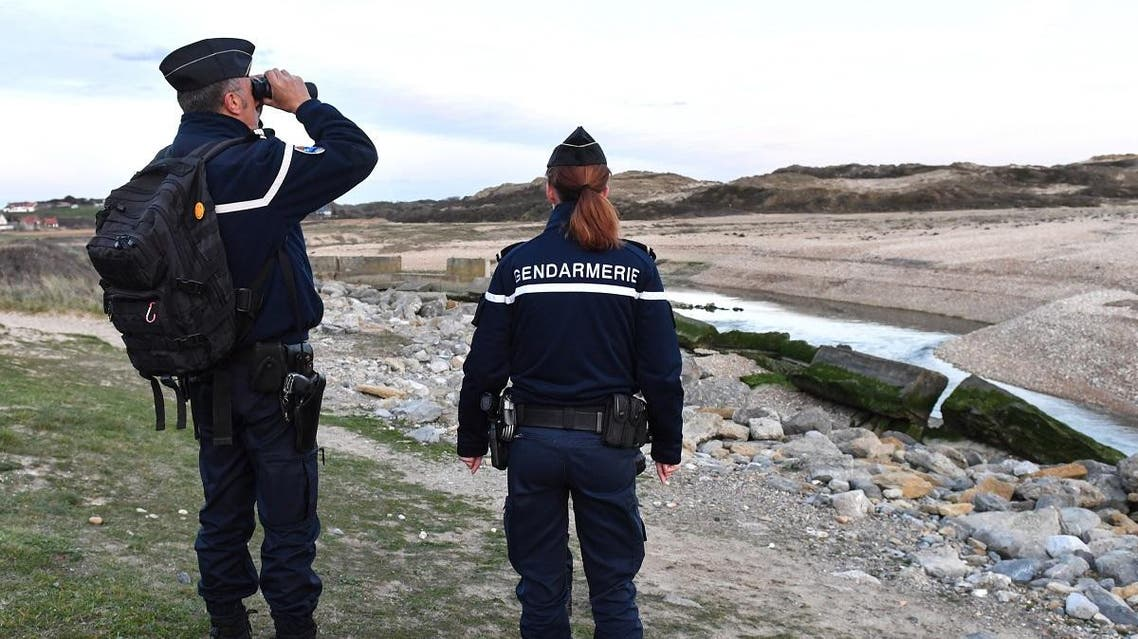 French Gendarmes patrol the beaches at Tardinghen near the northern port city of Calais on April 4, 2019. (AFP)