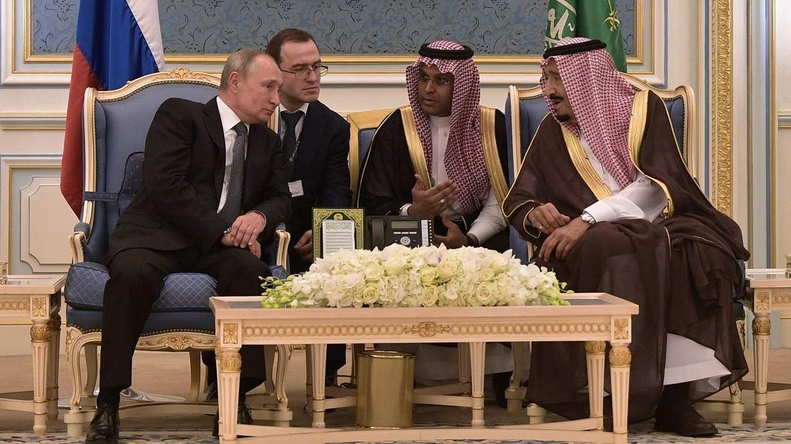 Russian President Vladimir Putin (L) and Saudi Arabia's King Salman (R) attend a meeting in Riyadh, Saudi Arabia, on October 14, 2019. (AFP)