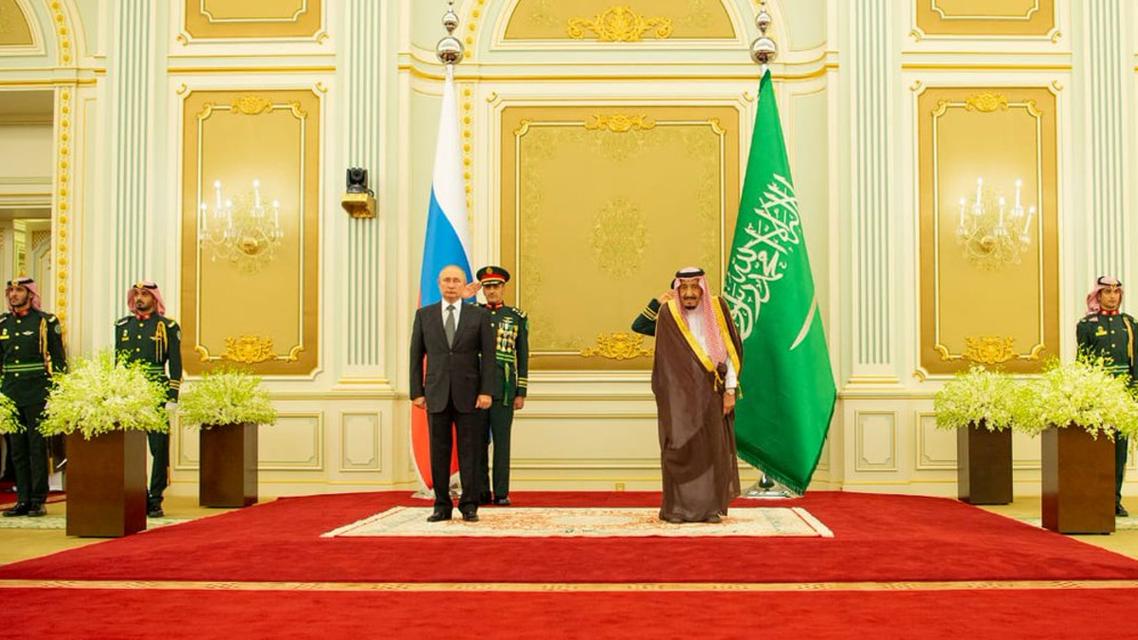 Saudi King Salman hosts meets Russian President Russia Vladimir Putin Arabia - SPA