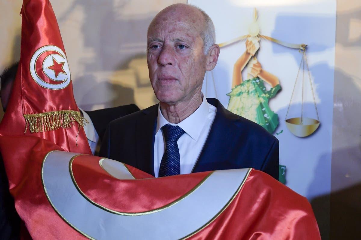 الرئيس التونس قيس سعيد عقب فوزه في الرئاسة في أكتوبر 2019