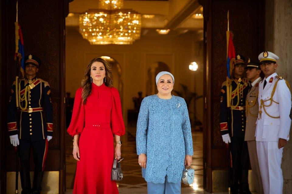 الملكة رانيا والسيدة المصرية الأولى إنتصار السيسي