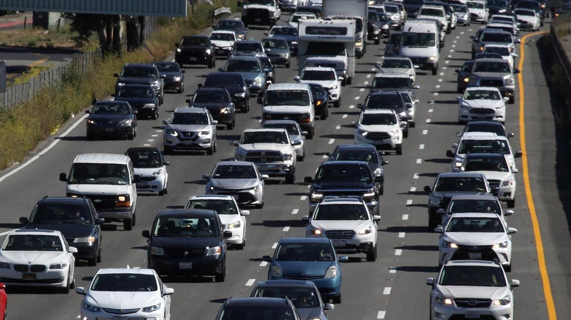 Traffic moves along northbound U.S. 101 on September 17, 2019 in Corte Madera, California. (AFP)