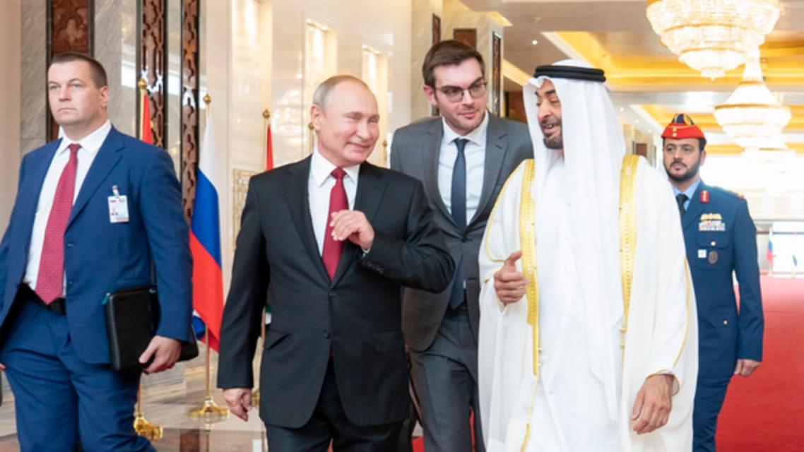 Vladimir Putin and Sheikh Mohammed bin Zayed in Abu Dhabi (Twitter)