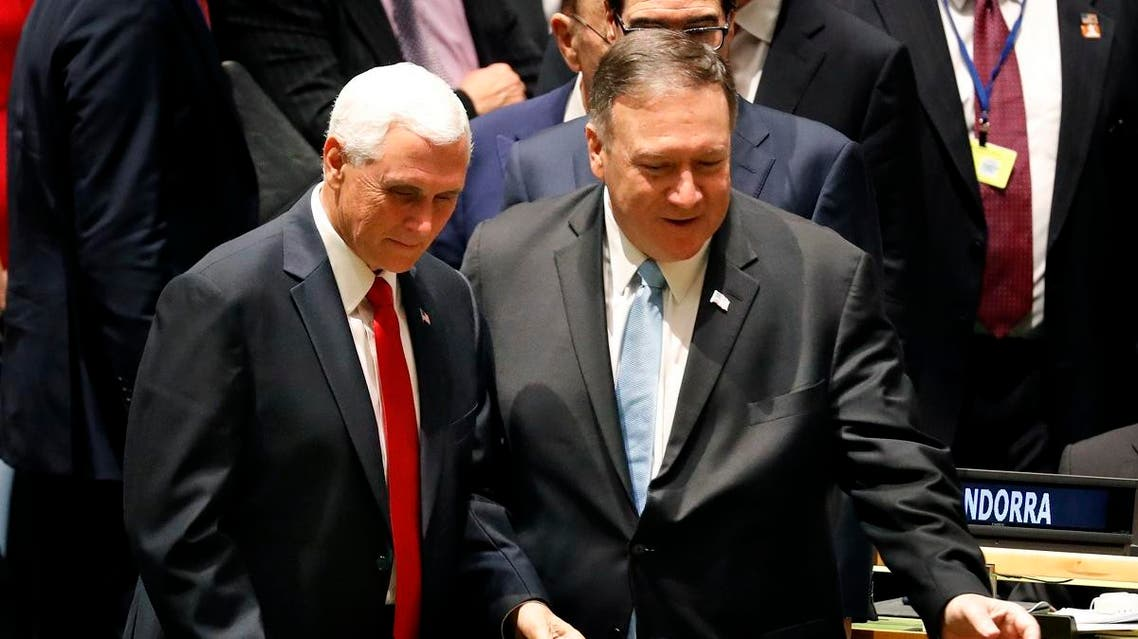 U.S. Vice-President Mike Pence, left, and Secretary of State Mike Pompeo arrive to the 74th session of the United Nations General Assembly at U.N. headquarters. (AP)