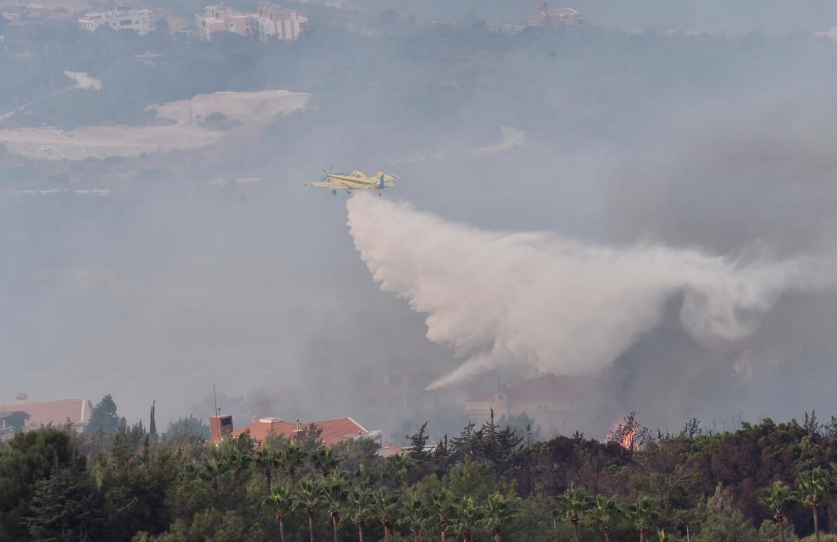 Cypriot helicopters put out forest fires in Lebanon. (Twitter)