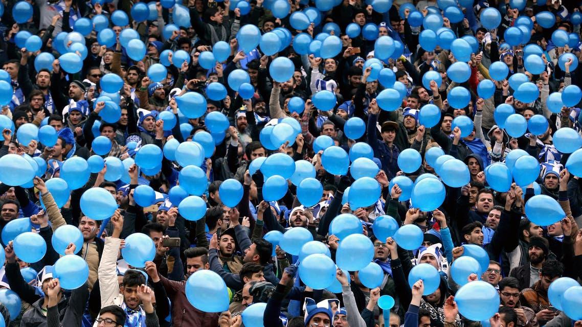 Esteghlal fans in Iran blue Sahar Khodayari blue girl football FIFA - AFP