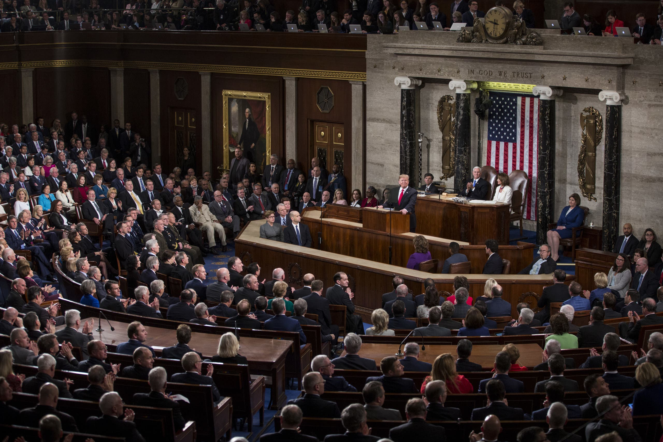 Donald Trump delivers the State of the Union address in the chamber of the US House of Representatives at the U.S. Capitol Building on February 2019  Washington AFP
