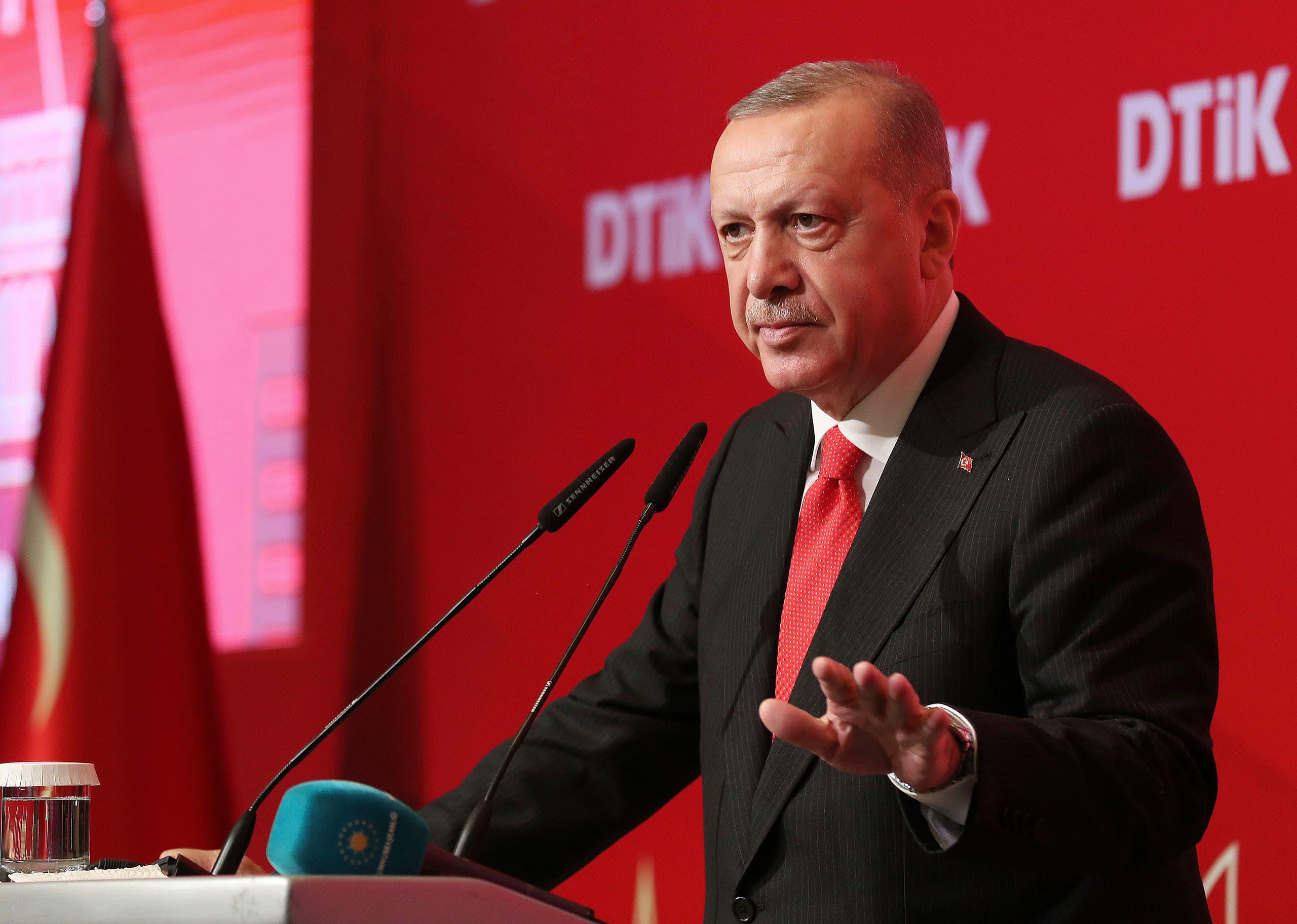 Turkey's President Recep Tayyip Erdogan addresses the World Turkish Business Council meeting, in Baku, Azerbaijan, Monday. Oct. 14, 2019. (AP)