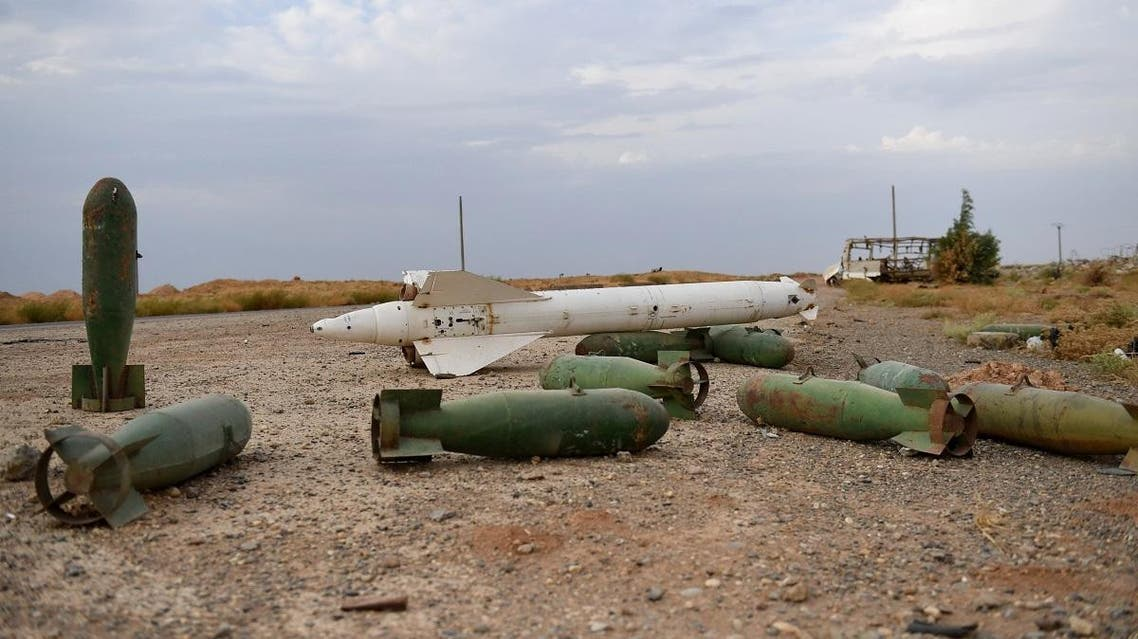 Abandoned military equipment is pictured at Tabqa air base in norther Syria's Raqa region on October 16, 2019 as Syrian regime forces (unseen) deployed there. (AFP)