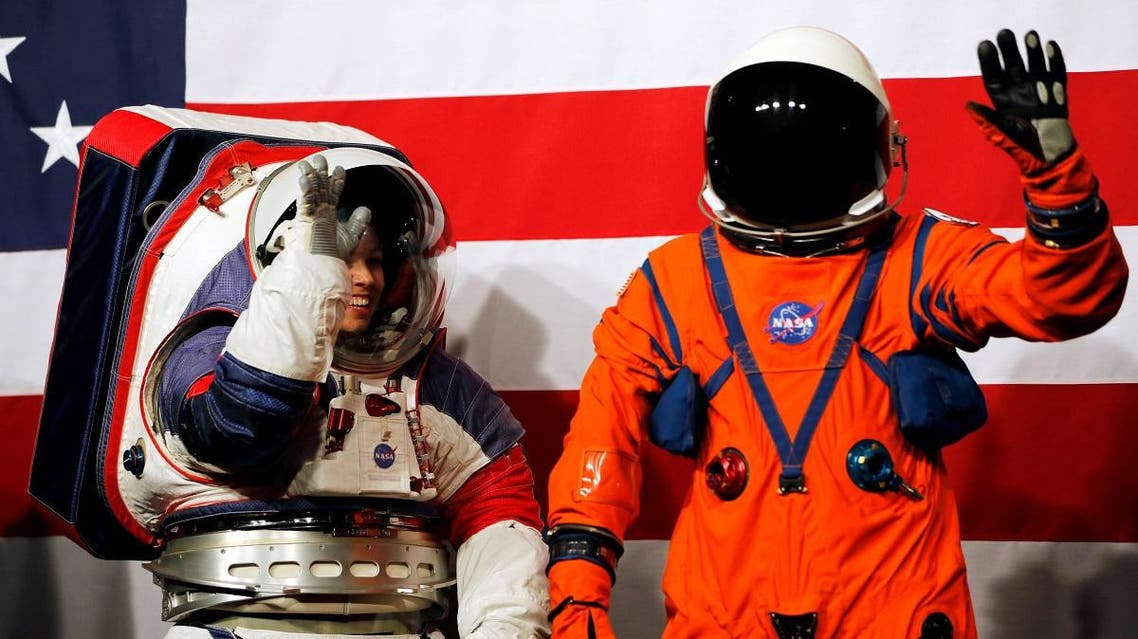 NASA unveil prototype spacesuits for astronauts to wear on the moon in Washington. (Reuters)