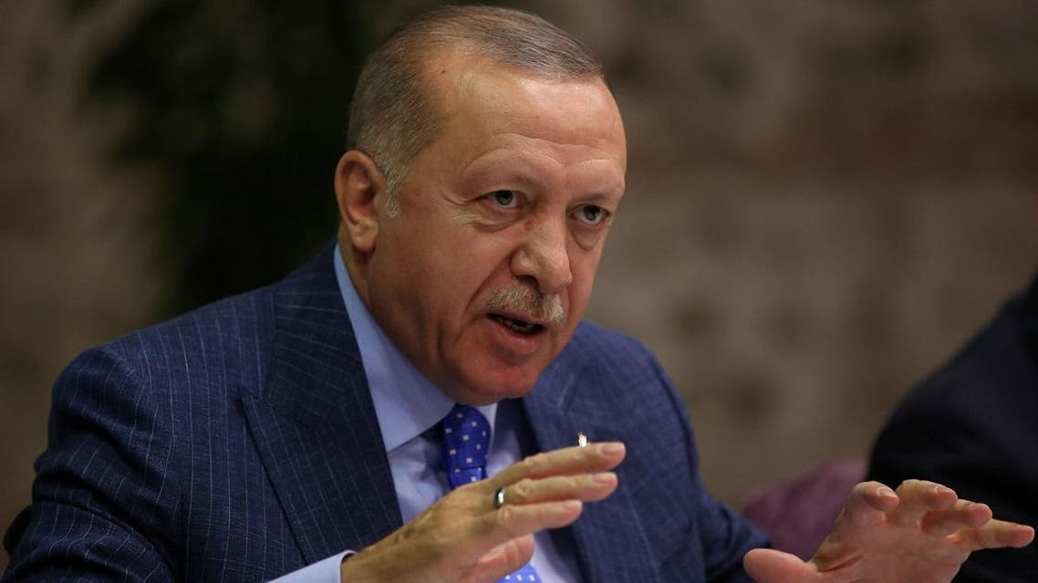 Turkish President Tayyip Erdogan talks to journalists in Istanbul. (Reuters)