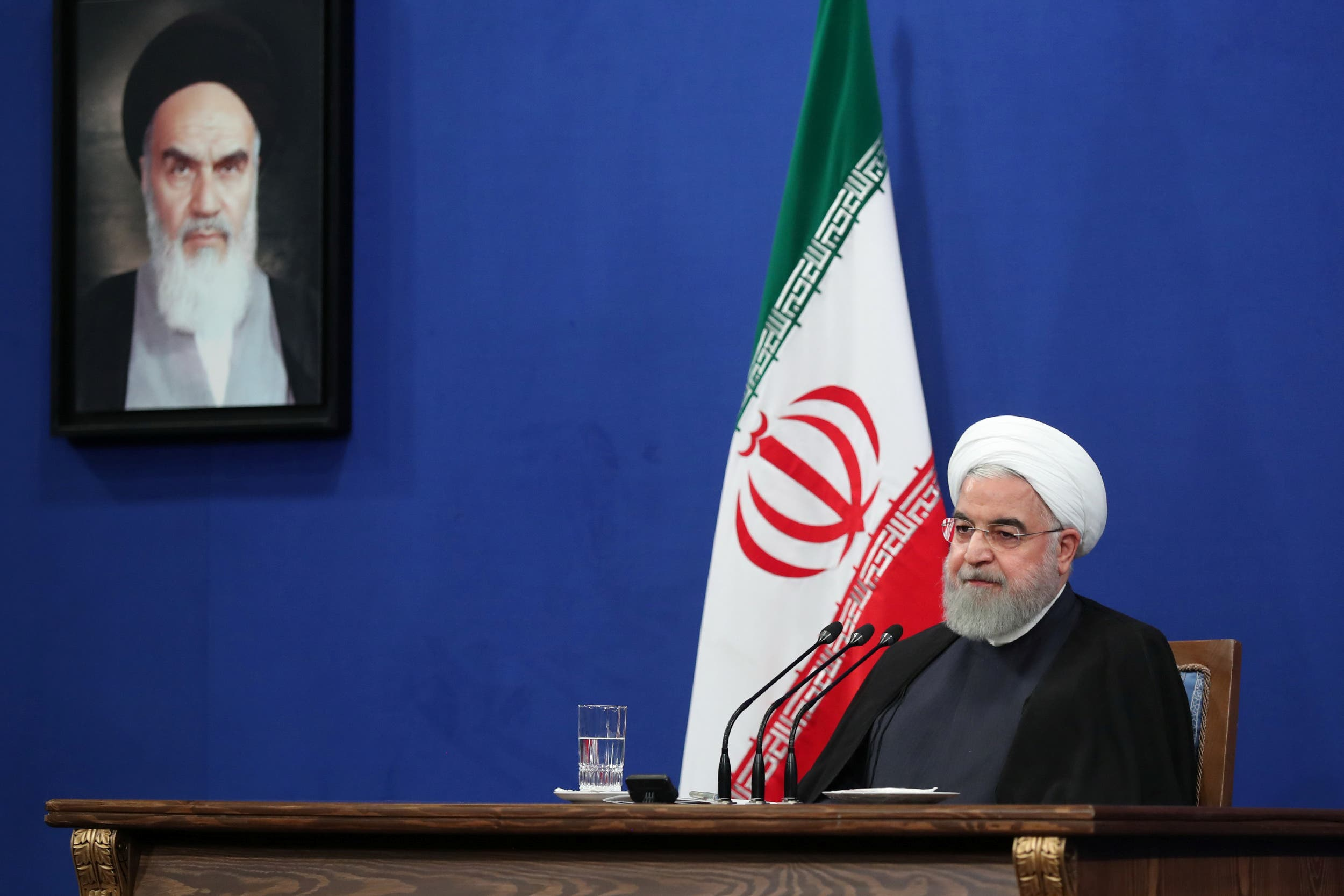 Iran President Hassan Rouhani speaks during press conference in Tehran Iran October 14 2019. (AFP)