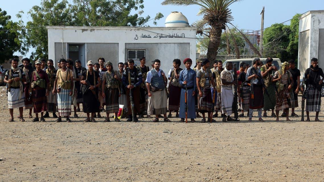 Yemeni Shiite Huthi rebels gather in the port city of Hodeidah on December 2018 AFP
