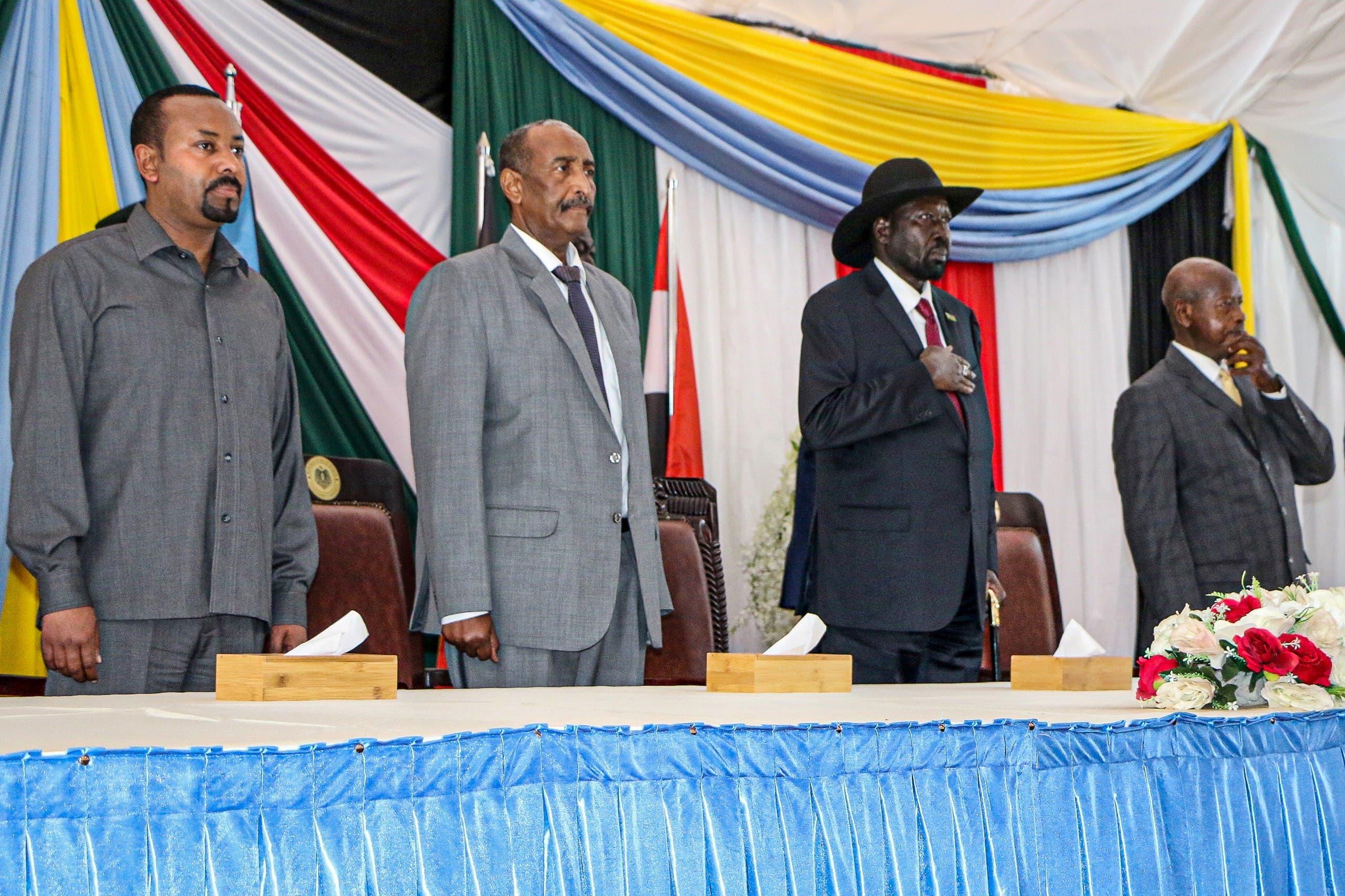 الرئيس الأوغندي ورئيس جنوب السودان ورئيس المجلس السيادي الانتقالي السوداني ورئيس الوزراء الإثيوبي في جوبا يوم 14 أكتوبر